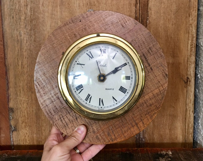 Vintage Colonial Wood Brass Wall Clock