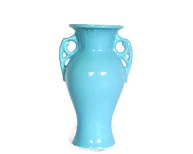 Vintage Blue Abingdon Ceramic Pottery Porcelain Vase // Art Deco Mid Century Vase // Collectible USA Pottery // Home Decor