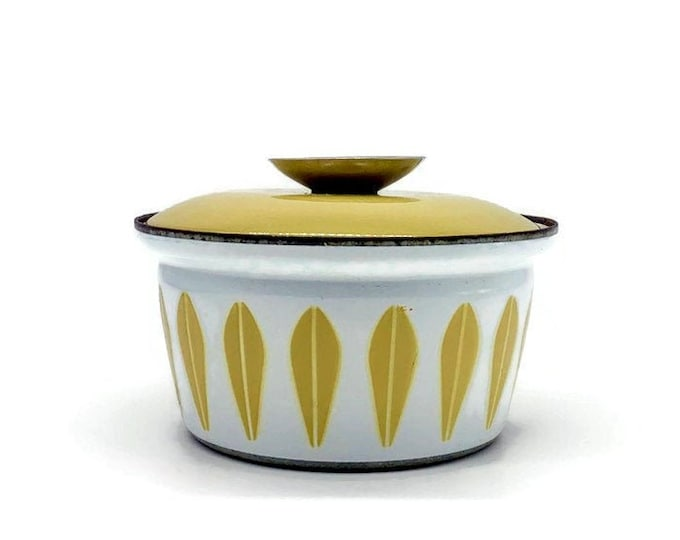 Vintage Catherineholm Mustard Yellow and White Lotus Enamel Pot with Lid