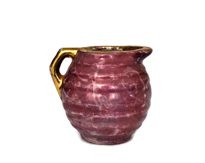 Vintage Violet and Pink Gold Pottery Pitcher Creamer