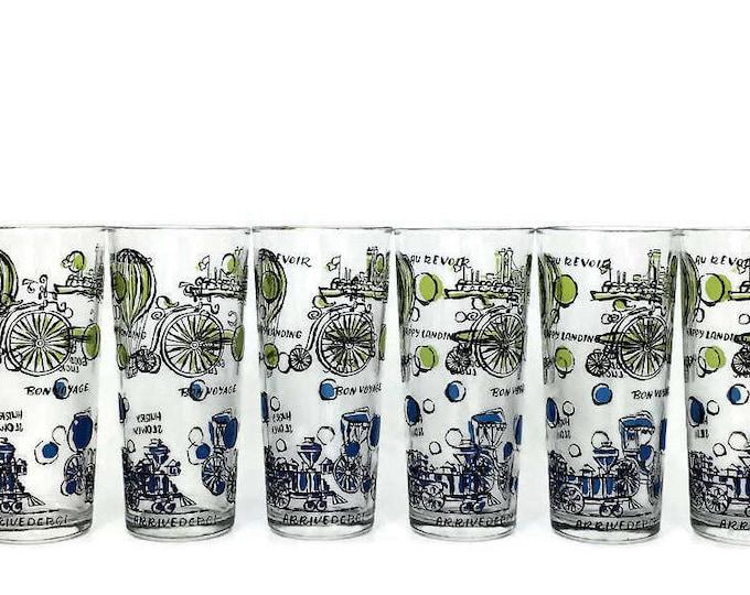 Set of 6 Vintage Transportation Theme Drinking Glasses