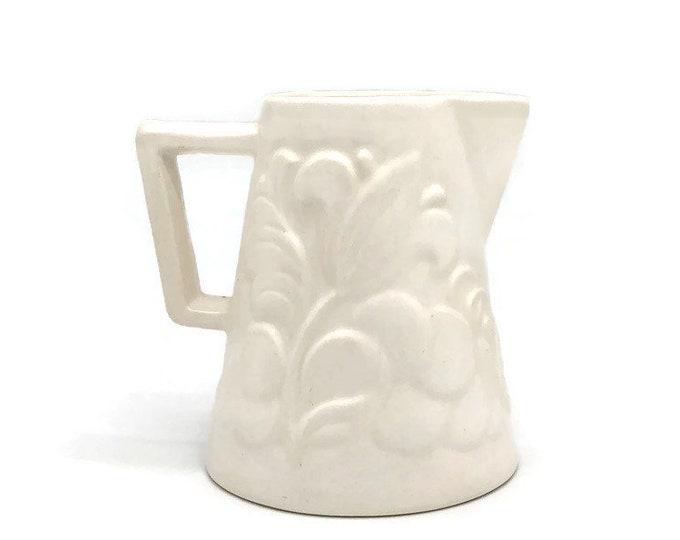 Vintage Mid Century Modern Floral White Ivory Ceramic Pitcher Creamer Serving Vase