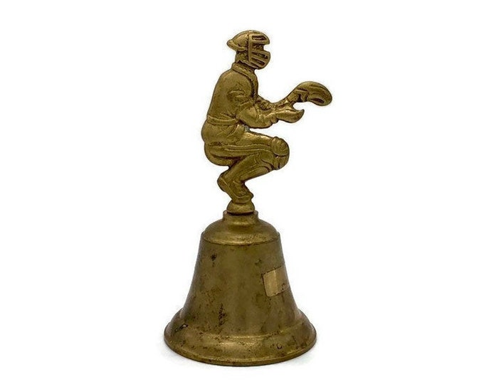 Vintage Brass Bell - Baseball Player Catcher - Nursery Brass Decor - Baby Gift - Brass Baseball Bell - Brass Baby Gift