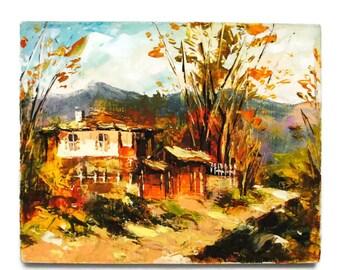 Vintage Small Original Acrylic Landscape Painting on Linen Canvas