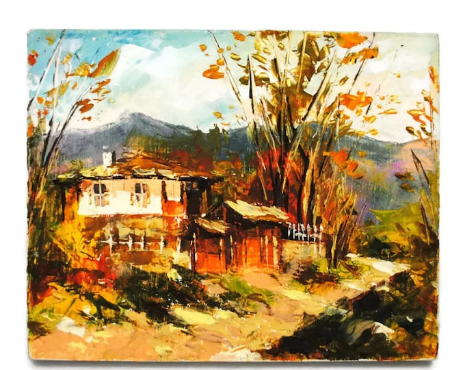 Vintage Small Original Acrylic Landscape Painting on Linen Canvas