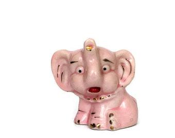 Vintage Ceramic Pink Elephant Figurine