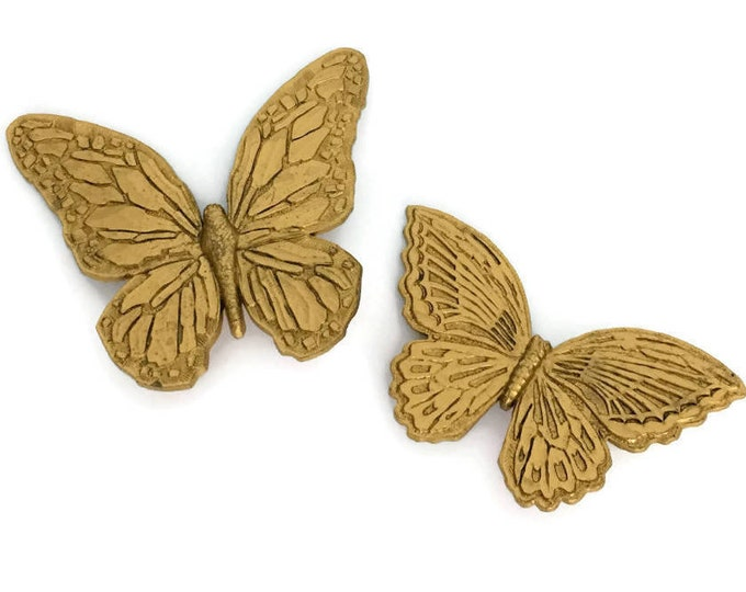 Vintage Gold Plastic Pair of Monarch Butterflies for the Wall // Butterfly Decor // 1970s // Boho Chic Style