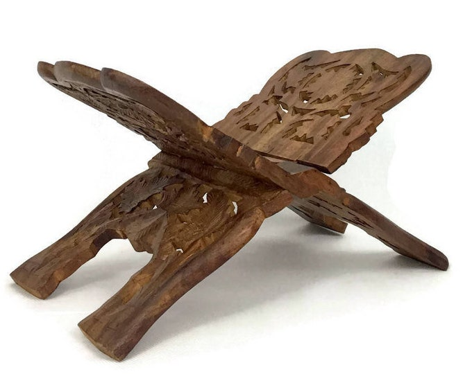 Vintage Hand Carved Indian Sheesham Wood Folding Book Stand Display // Boho Home Design Decor