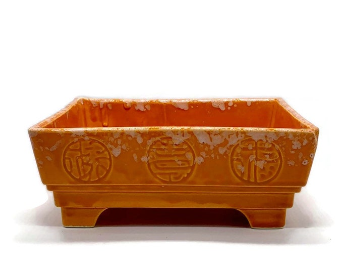 Vintage Orange Ceramic Planter