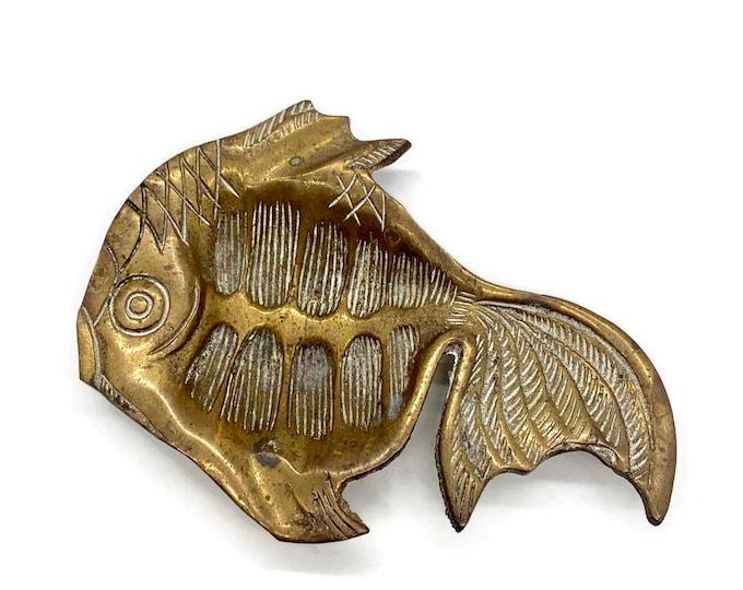 Vintage Brass Koi Fish Dish - Brass Catchall - Brass Decor - Brass Vanity Tray - Brass Housewarming Gift - Fish Gift - Brass Tray - Koi Fish