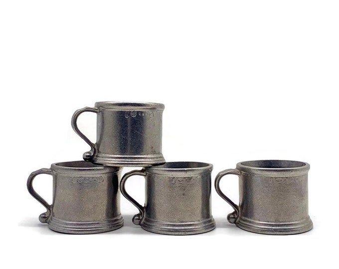 Vintage Set of 4 Pewter Baby Cups