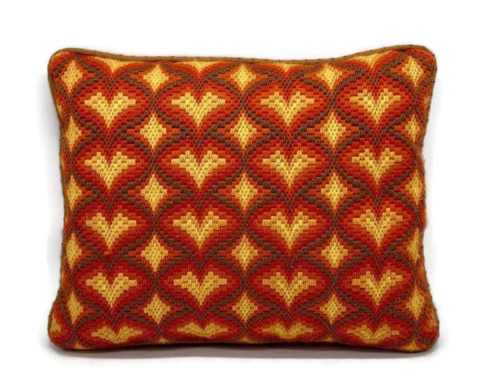Vintage Bargello Needlepoint Pillow