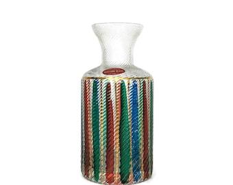 Vintage Murano Original Stripe Glass Fluted Vase Venice // Italian Glass // Ribbed Glass