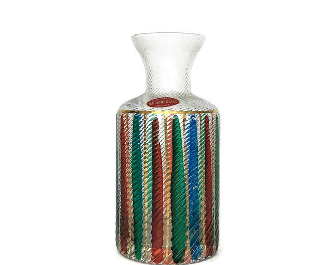 Vintage Murano Original Stripe Glass Fluted Vase Venice // Italian Glass // Ribbed Glass