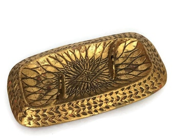 Vintage Mid Century Modern California Style Gold Leaf Ashtray
