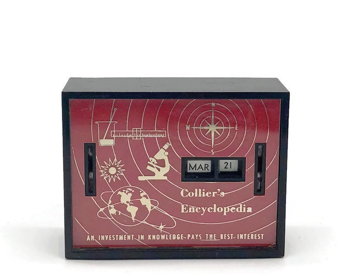 Vintage Collier's Encyclopedia Perpetual Desk Calendar Coin Bank // Vintage Office School Desk Supply // Props // Mid Century