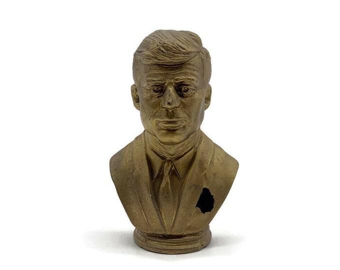 Vintage John F Kennedy Bust - JFK Bust - Gold Bust - Brass Bust - Presidential Bust - 1960s Prop - JFK Figure - JFK Art Portrait