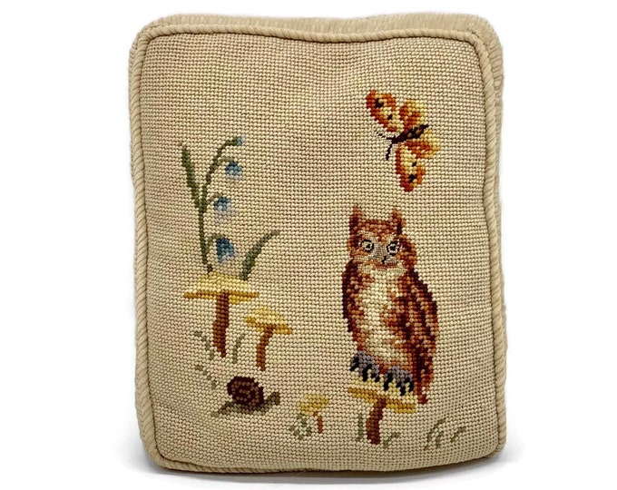 Vintage Woodland Creature Needlepoint Pillow