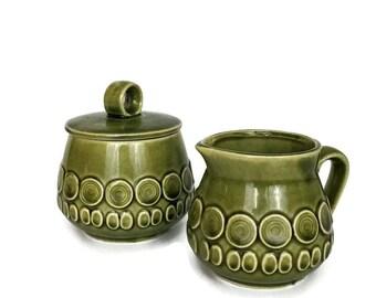 Vintage Green Mid Century Japanese Ceramic Sugar Bowl and Creamer Set // Gift Idea