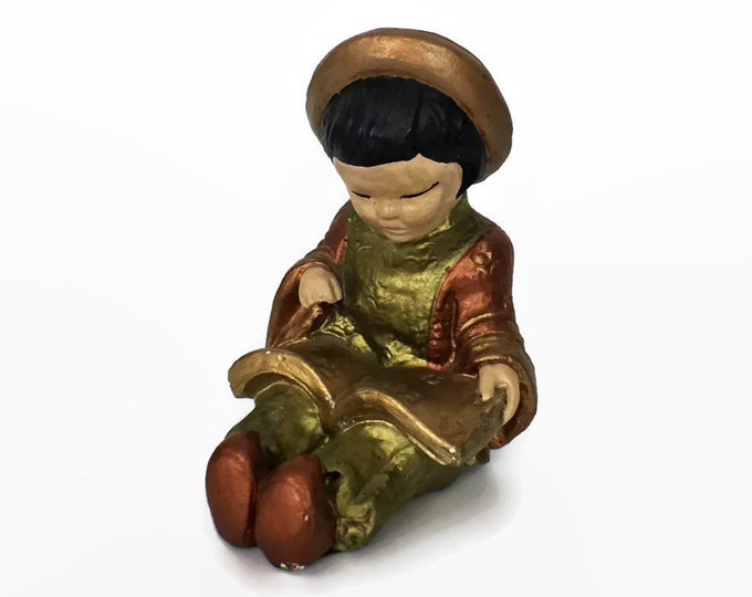 Vintage Ceramic Asian Girl Reading Handpainted Figurine Statue