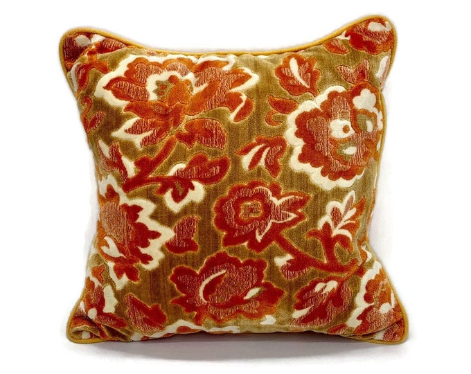 Vintage Floral Cut Velvet Velour Orange Pillow