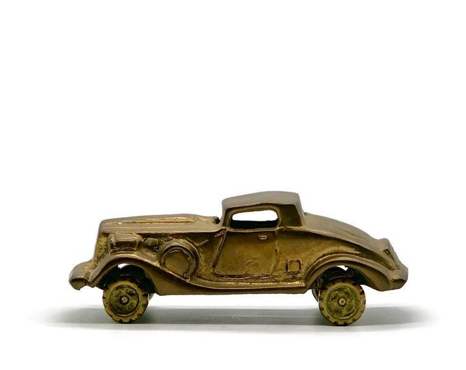 Vintage Brass Coupe Classic Car - Brass Paperweight - Brass Office Decor - Collectible Cars - Gift for a Car Guy