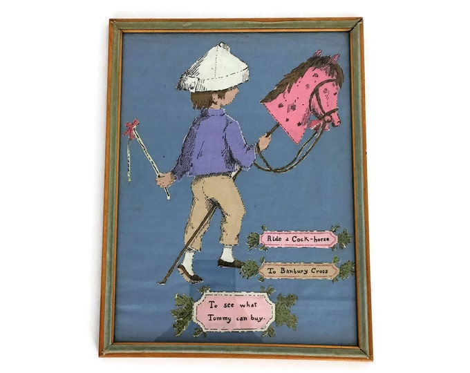 "Vintage ""Ride a Cock Horse to Banbury Cross"" Framed Cloth Nursery Art"