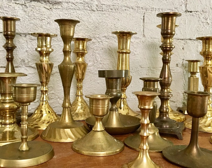 22 Piece Vintage Brass Candlestick Collection // F2