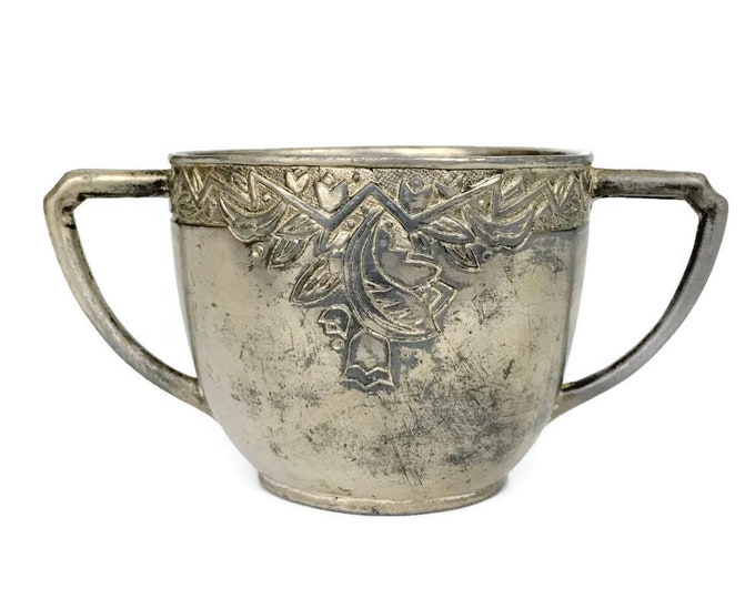 Vintage Double Handled Baby Cup with Engraved Floral Design by N.S. Co. // Baby Gift