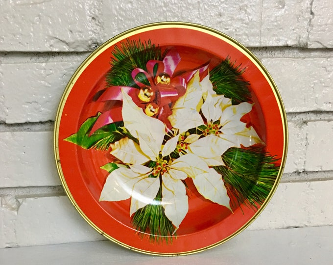 Vintage Poinsettia Tin Bowl