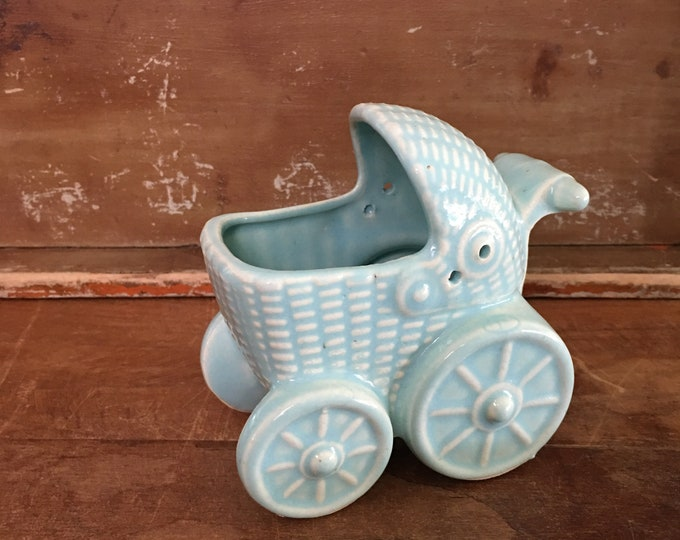 Vintage Japanese Blue Ceramic Pram Planter
