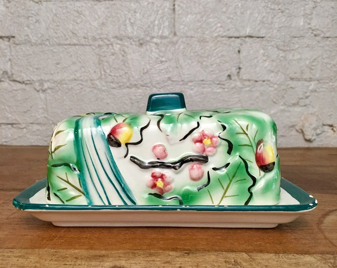 Vintage Floral Pottery Butter Dish