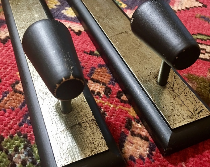 Vintage Mid Century Modern Black and Silver Wood Candle Sconces