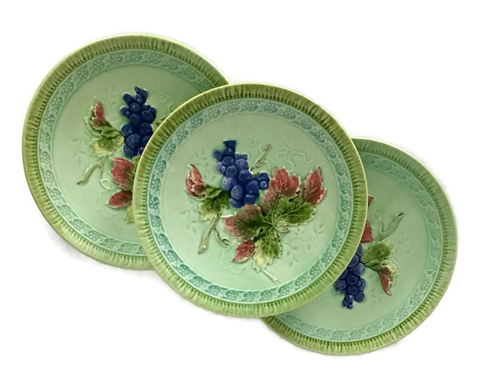 Vintage Majolica Set of 3 Small Plates // Black Forest Art Pottery Erphila Germany