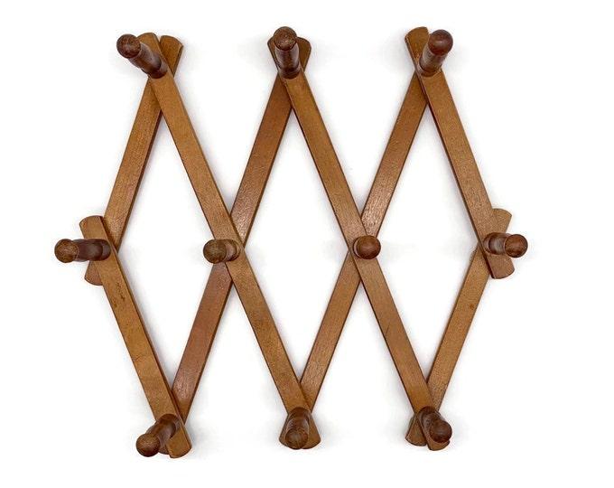Vintage Wooden Accordion 10 Peg Rack