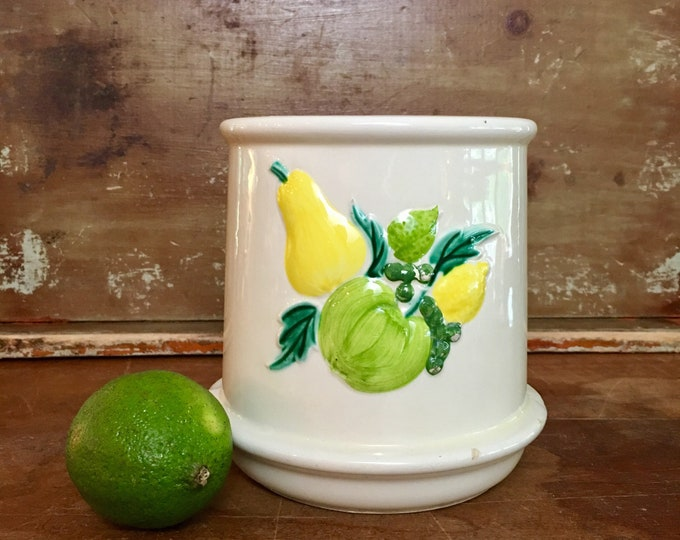 Vintage Fruit Ceramic Kitchen Crock