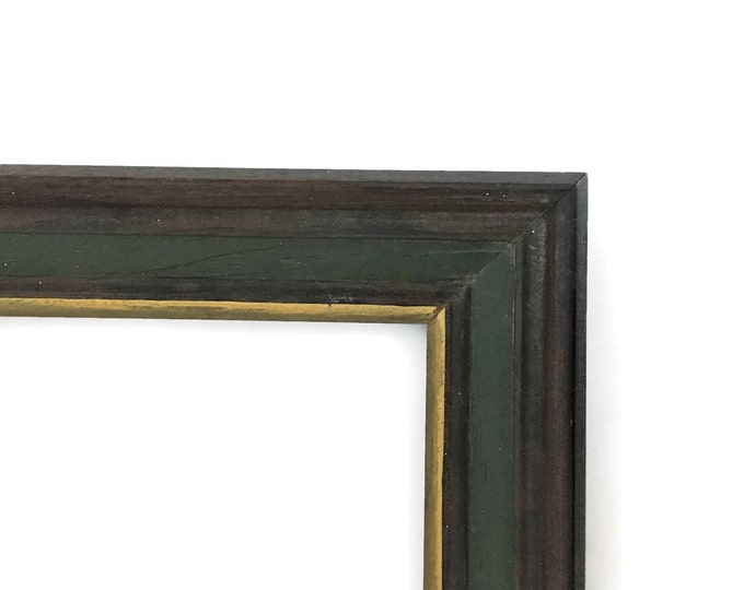 Vintage Green Gold Brown Painted Wooden Frame // Wall Gallery