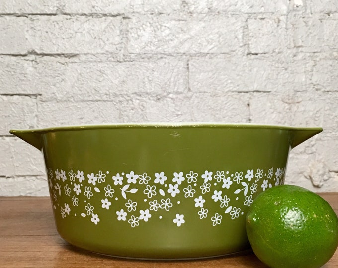 Vintage Green Flower Crazy Daisy Spring Blossom Pyrex Casserole Dish 1970s Kitchen Collectible