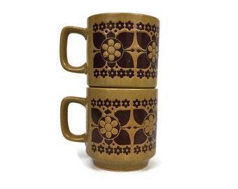 Vintage Pair of Mid Century Floral Coffee Mugs // Retro Kitchen Decor