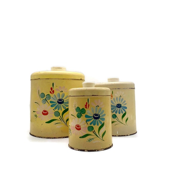 Vintage Ransburg Kitchen Canister Set - Yellow Kitchen Canisters - Metal  Kitchen Cannister - Canister Set for Kitchen - Yellow Kitchen Decor
