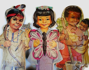Vintage Large Children of the World Puzzles // African Children // Japanese Children // Native American Children // Cultural Puzzle Toys