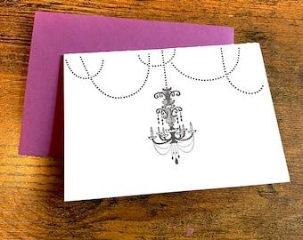 Nouveau Chandelier- Letterpress Printed Folded Card with Plum Envelope