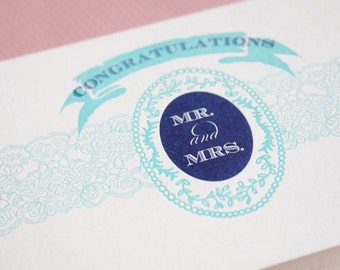 Congratulations Mr. and Mrs. Letterpressed Printed Single Blank Card