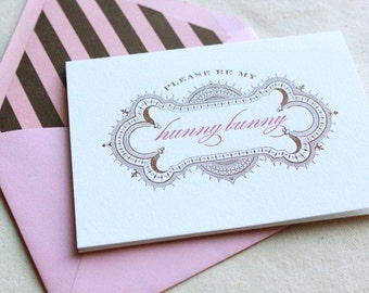 Raspberry Truffle- 2 color letterpress printed card with envelope liner