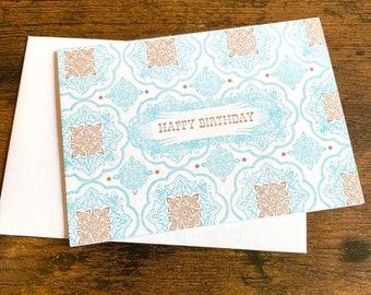 Happy Birthday Talavera Single Letterpress Printed with White Envelope