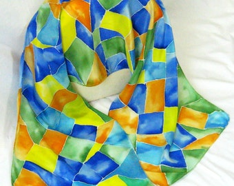 Silk Scarf, Hand Designed,Crepe de Chine Silk, Stained Glass, Or Table Runner