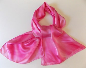 Silk Scarf, Pink, Hand Designed, Cotton Candy Pink, 15x6 inches, Or Pretty Table Runner