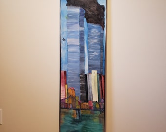 Art, TWIN TOWERS, 9/11,silk painting ( WE will never forget!)