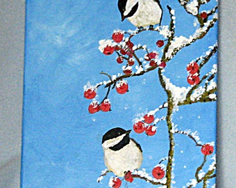 Art, Painting, Acrylic, Spring Snow, Black Capped Chickadees, 9x12inches, Wrapped Canvas