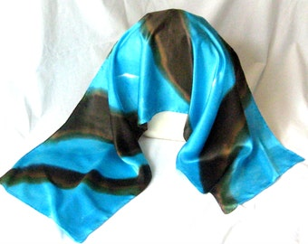 Silk Satin Scarf, Hand Designed, Turquoise,Chocolate, 15x60inches
